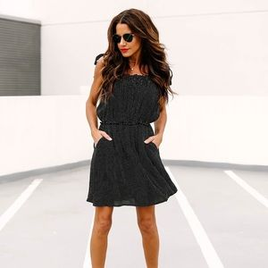 Vici Black Polka Dot Flowy Tie Dress